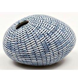 Art Floral Trading Pebble Vase WO71 - White & Blue