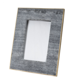 Medium 4X6 Marble Picture Frame With Brass - Black