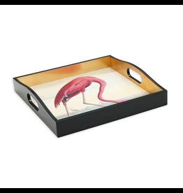 Caspari Audubon Flamingo Lacquer Tray 14x14