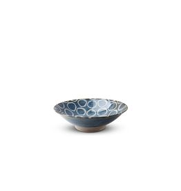 Miya Rustic White Circles 9.75in Serving Bowl