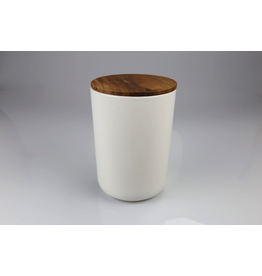 Stoneware Container with Acacia Lid, Extra Large - White