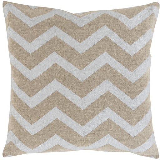 Metallic Linen Pillow,  Platinum Chevron