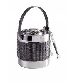 Woven Cane Ice Bucket with Tongs