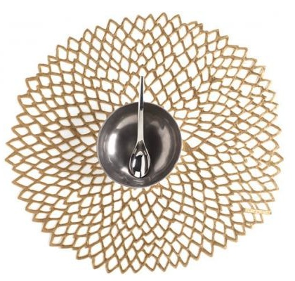 "14"" Round Pressed Dahlia Table Mat, Brass"