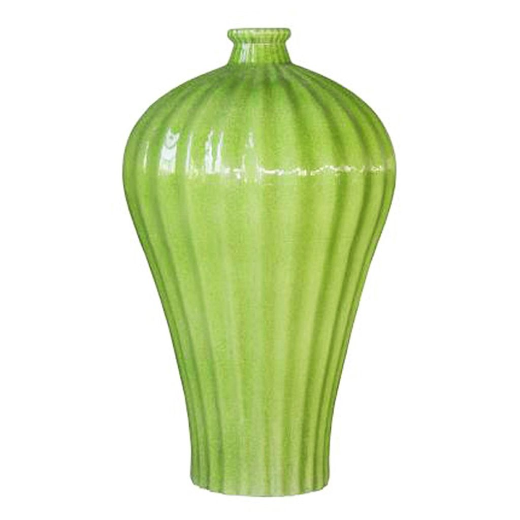 Fluted Plum Vase, Lime Green