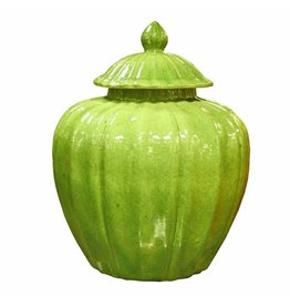 Fluted Pumpkin Jar, Lime Green