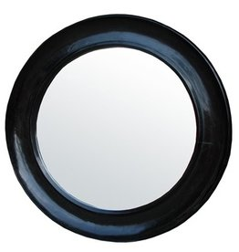Large Sutton Mirror, Hand Rubbed Black