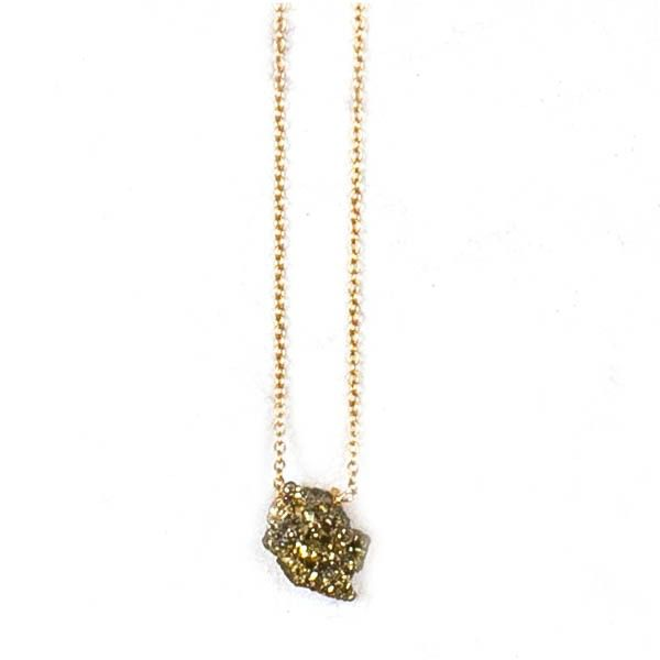 Gold Druzy Nugget Necklace