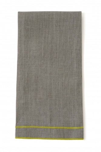 "Leonardo 20""x28"" Tea Towel, Natural Linen, Yellow Stitching"