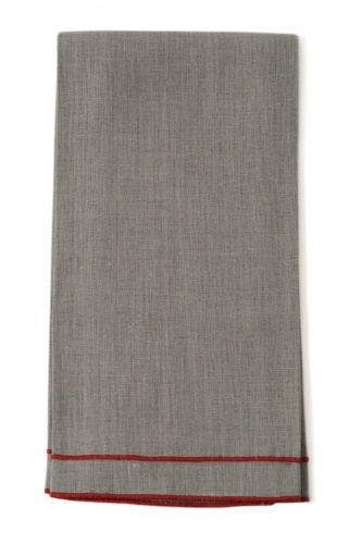 "Leonardo 20""x28"" Tea Towel, Natural Linen, Orange Stitching"