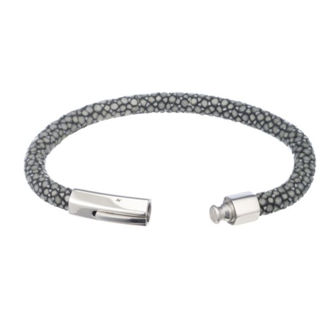Genuine Shagreen Cord Bracelet, Gray and Silver