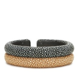 Genuine Shagreen Double-band Cuff, Gray and Latte