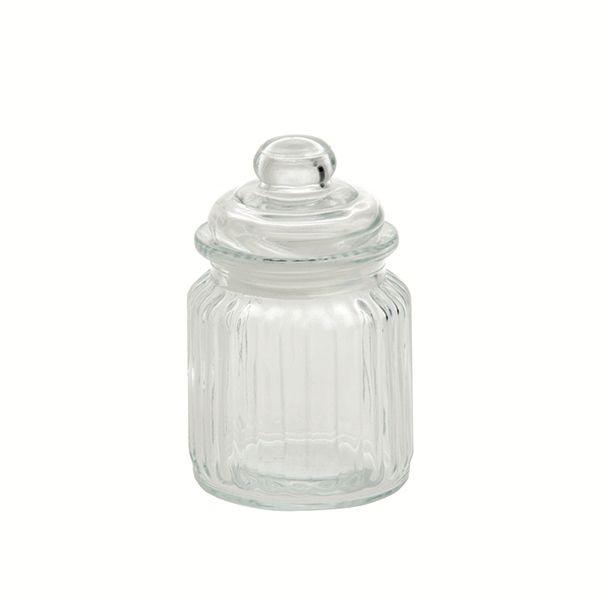 "LPB Versilia Ribbed Glass Container 3x4.75"" (8x12.5cm) 8.5oz"