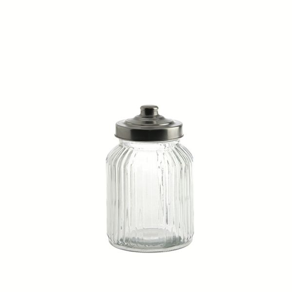 "LPB Tuscania Ribbed.Glass Container 4.25x7"" (11x17cm) 32oz ("