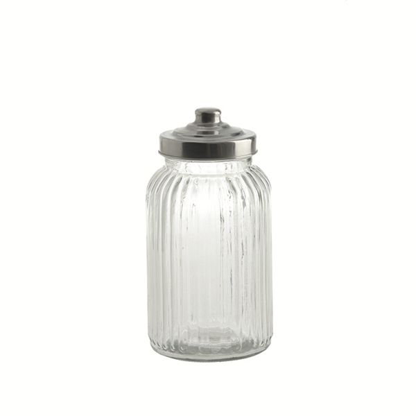 "LPB Tuscania Ribbed.Glass Container 4.25x8.25"" (11x21cm)  44"