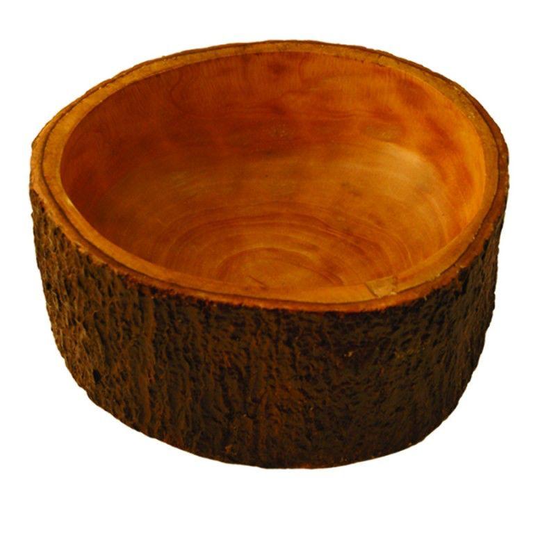 Mango Wood Salad Bowl with Bark Small