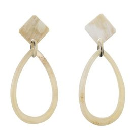 Natural Buffalo Oval Earrings