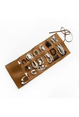 Vegan Leather Travel Cord Roll - Brown