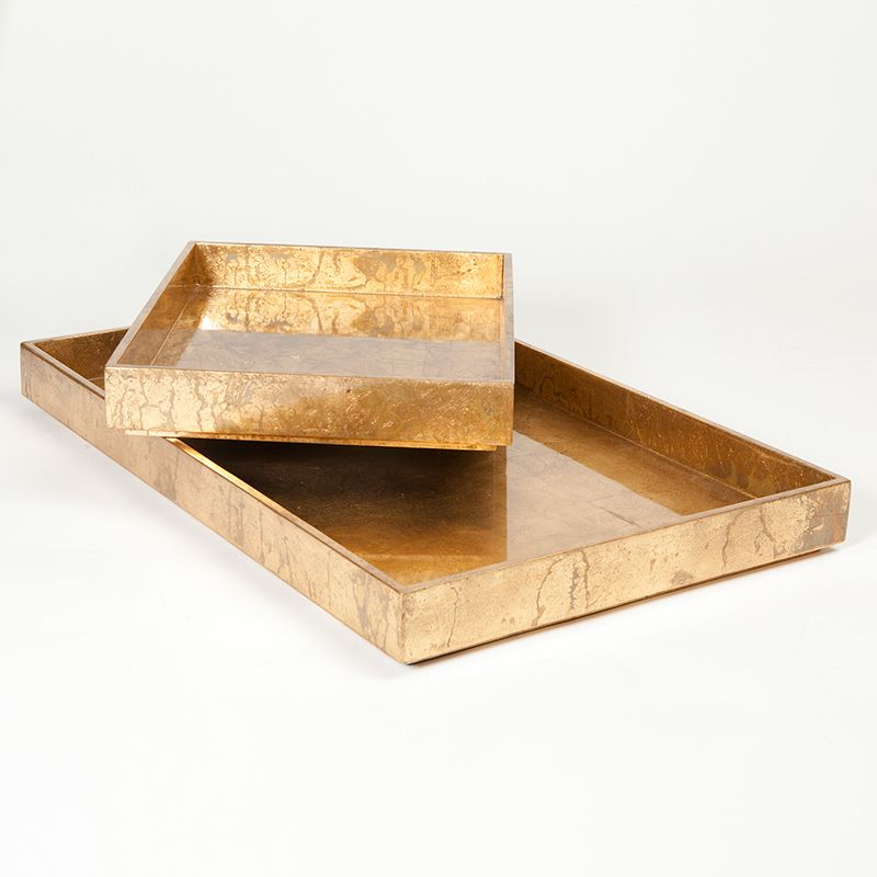 Small Luxe Gold Leaf Rectangle Tray