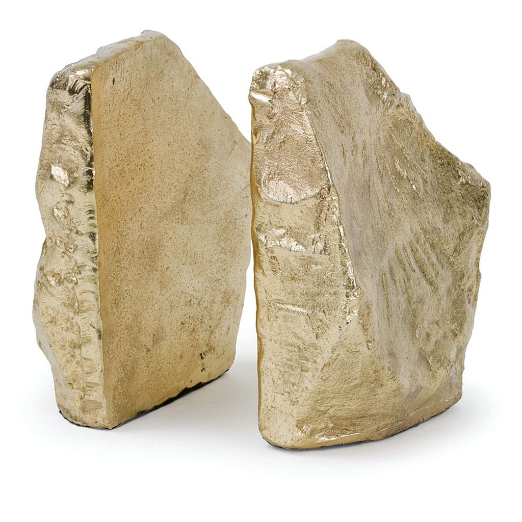 Rock Bookends in Soft Gold