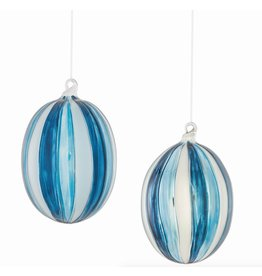 GLASS OVAL STRIPED ORNAMENT, BLUE/SILVER