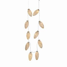 """GLASS PINE CONE STRING LIGHTS 88"""", Silver Frost"""