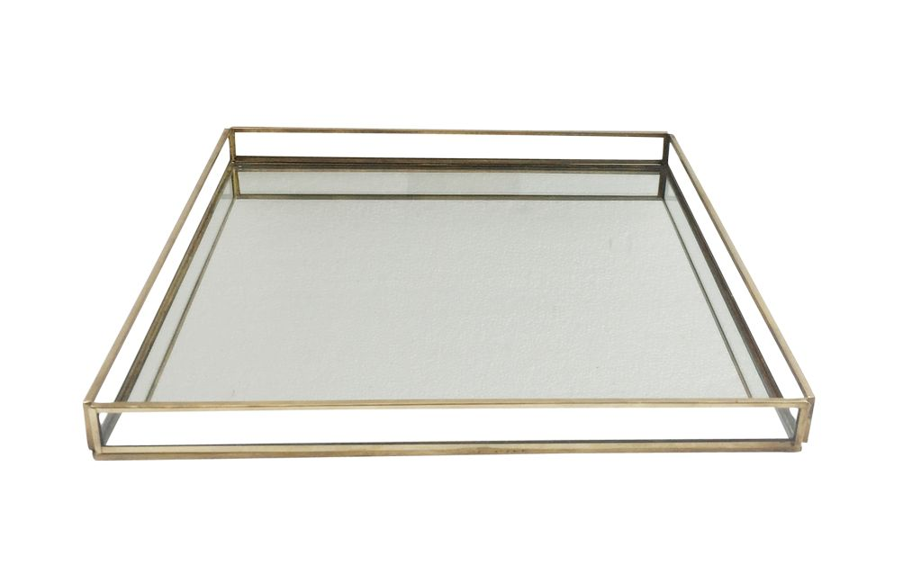 Large Brass & Glass Square Tray