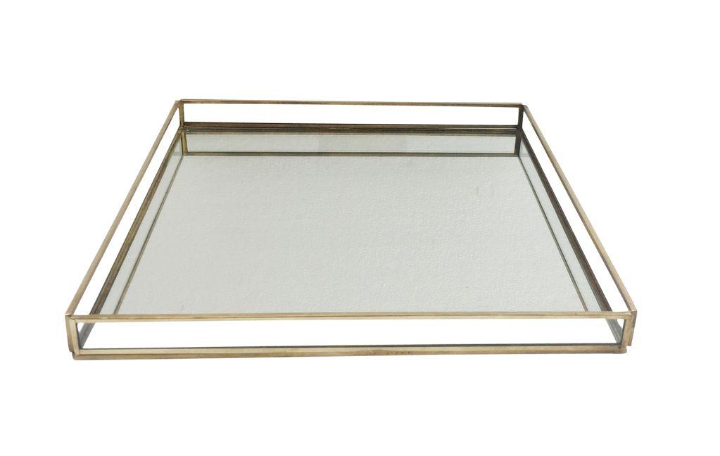 Medium Brass & Glass Square Tray