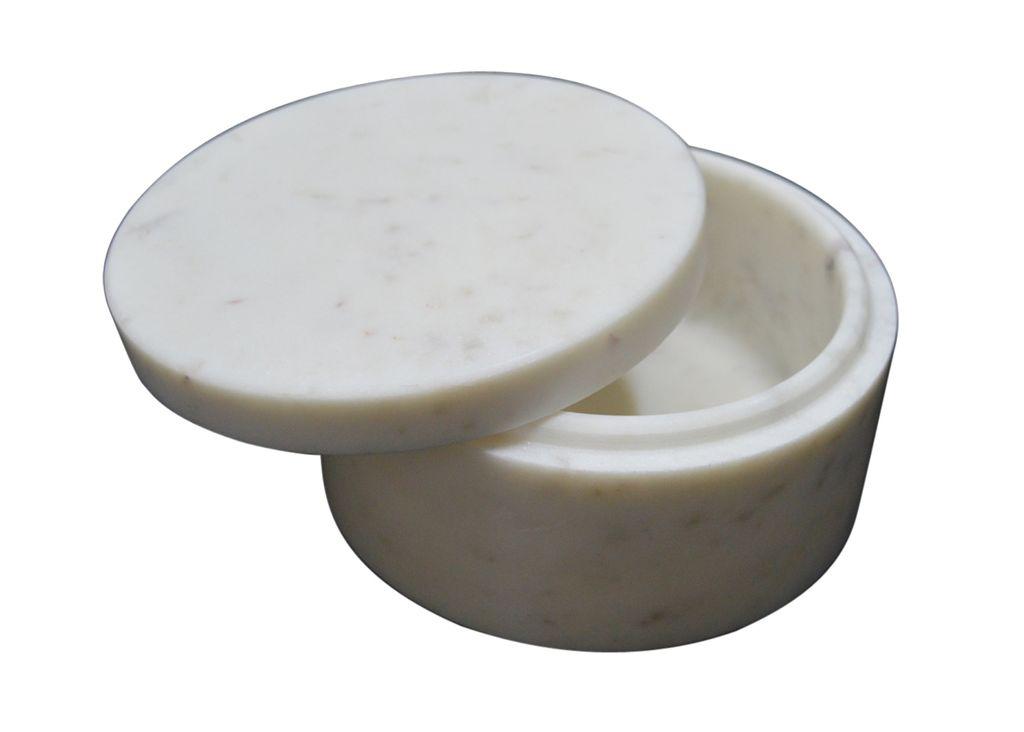 Marble Round Box - White