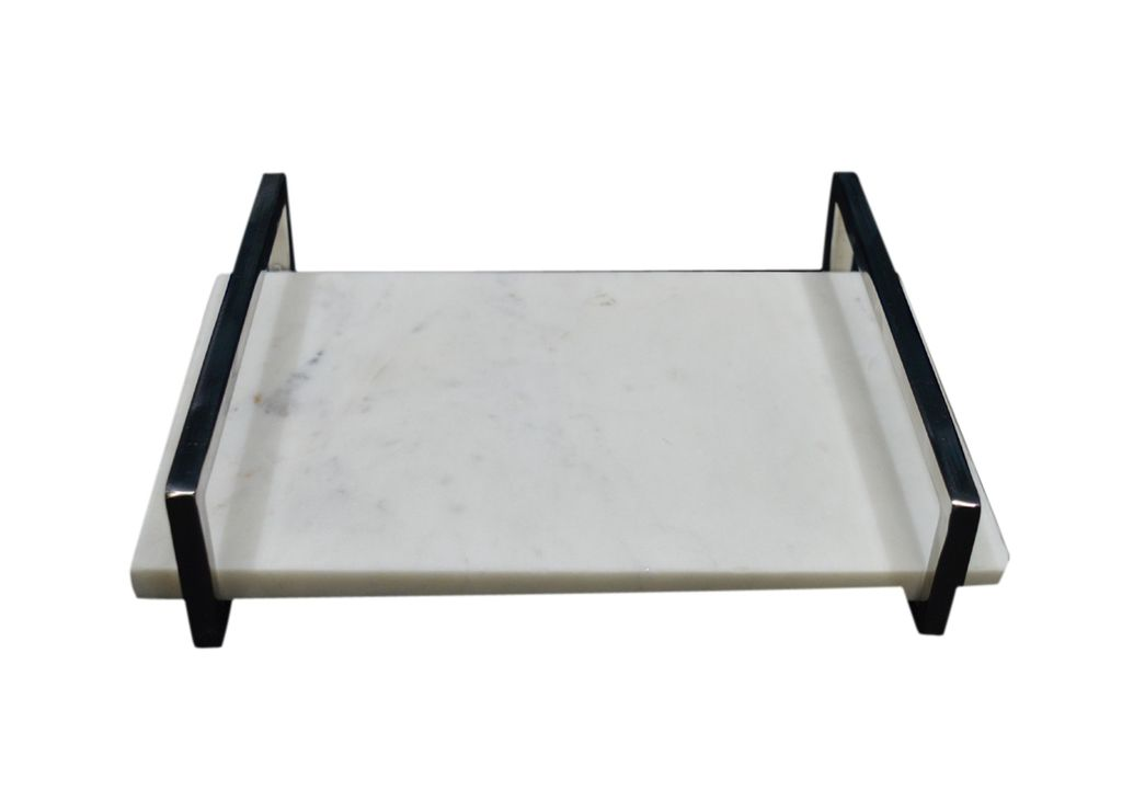 Small Marble Tray with Nickel Handle - White