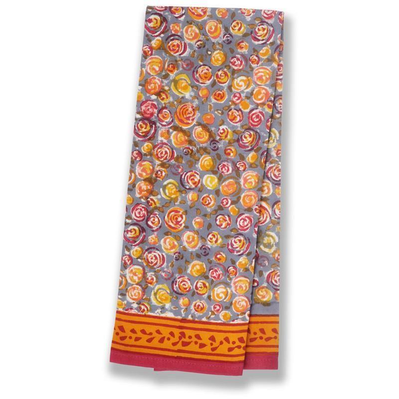 Autumn Bouquet Tea Towel Orange & Grey