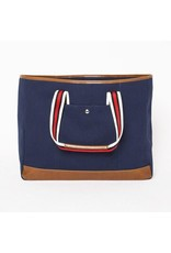 The Natural Shopper Tote Bag, Navy Blue with Red/Black/White Strap