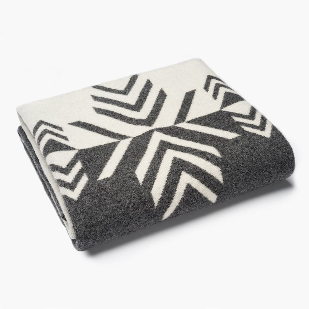 VERMILLION MIRROR WOOL THROW, CHARCOAL AND NATURAL