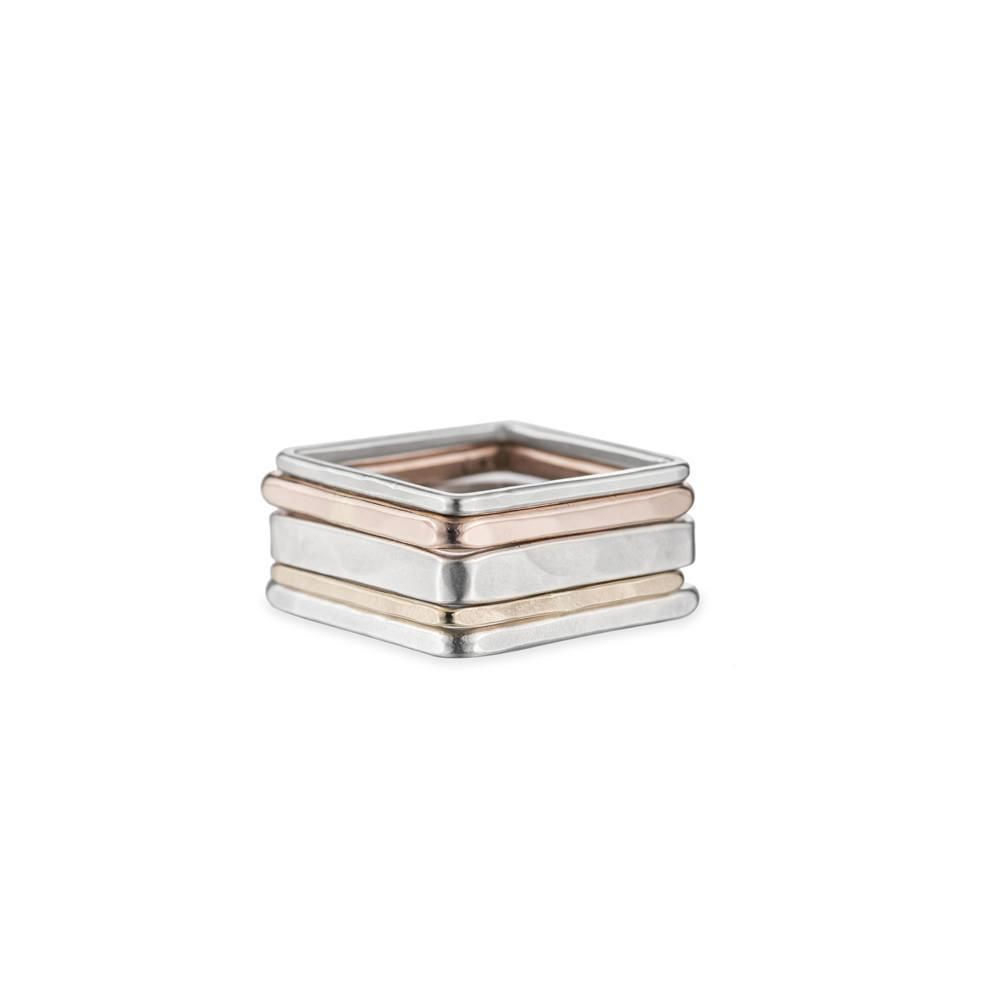 5-Stack Rose, Silver & Gold Square Ring, Size 7