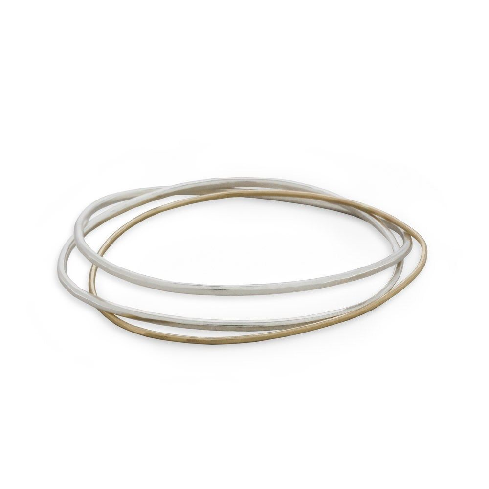 3-Loop Silver and Gold Necto Bangle