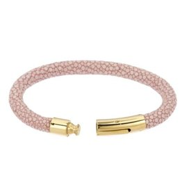 Genuine shagreen 6mm cord bracelet, gold bayonet clasp. Size medium 7.5 IN- PINK