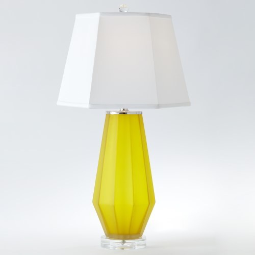 Fluted Urn Frosted Lamp-Yellow
