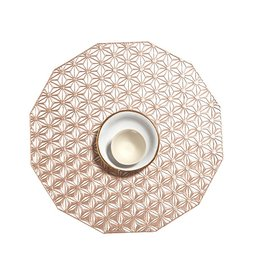 Kaleidoscope Table Mat 14 in Round, Pink Champagne