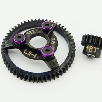 HOT RACING Hot Racing light weight hardened steel 18T/56T 32 pitch pinion and spur gear set for the Traxxas Bandit, Rustler, 2WD Slash, and 2WD Stampede