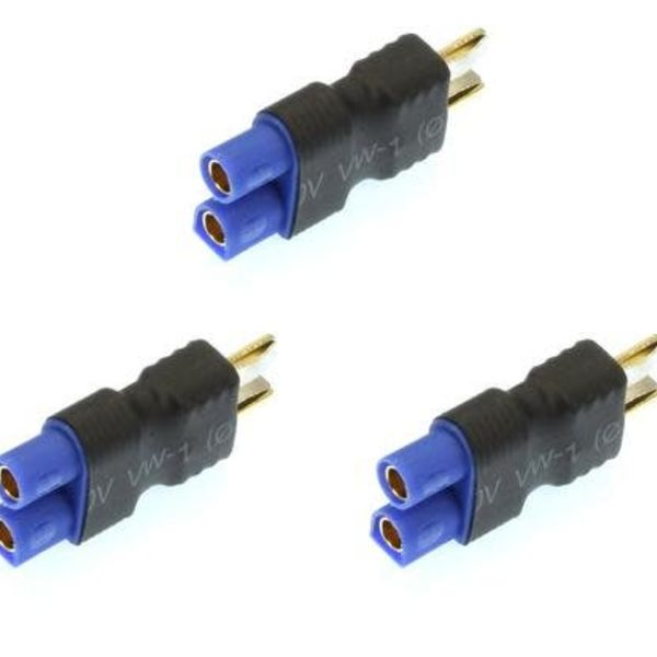 Apex RC Products No Wire Male Ultra T Plug (Deans Style) -> Female EC3 Adapter - (1)per pack
