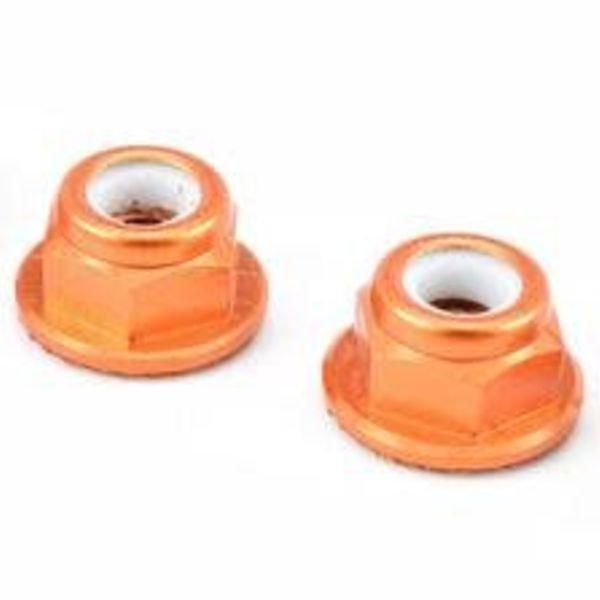 APEX Apex RC Products Orange 4mm Aluminum Serrated Nylon Locknut Wheel Nut Set #9803