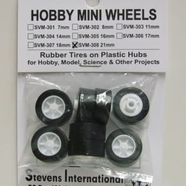 21mm Rubber Tires on Plastic Hubs (8)