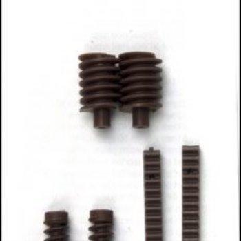 Plastic Worm Gears 15mm OD (2) & Universal Screws (2) w/Racks