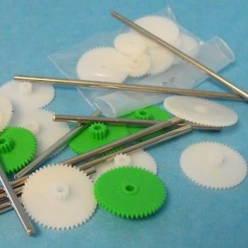 Assorted Small Plastic Motor Gears & Metal Shafts (27pcs