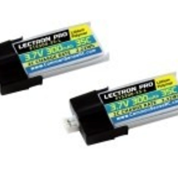 Lectron Pro™ 3.7V 300mAh 35C Lipo Battery 2-Pack with MCPX Connector for Blade Nano QX 3D and mCP X