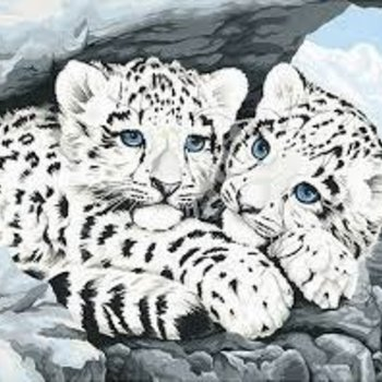 "Dimensions Snow Leopard Cubs Paint by Number (14""x11"")"