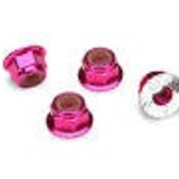 Traxxas 1747P Nuts Flanged Nylon Locking Alum 4mm Pink (4)