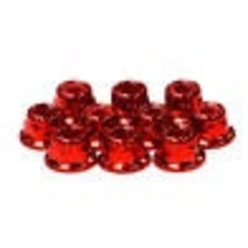 INT C24434RED Color Flanged Locknut 4mm (10)