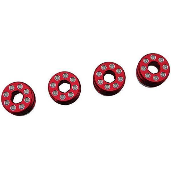 HOT RACING AON21N02 Aluminum Delrin Cap Hub Nut Red Arrma 1/8