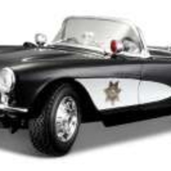 1/18 1957 Corvette Police Car (Black and White)